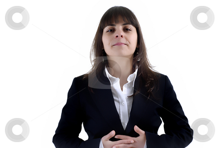 Brunette stock photo, Young business woman portrait in white background by Rui Vale de Sousa