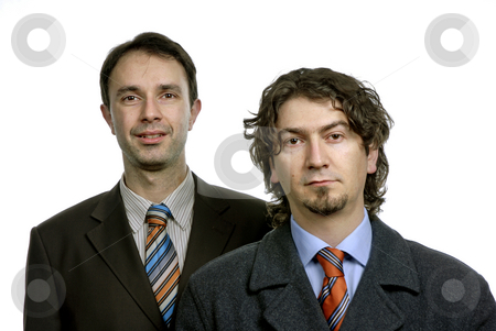 Business men stock photo, Two young business men portrait on white by Rui Vale de Sousa