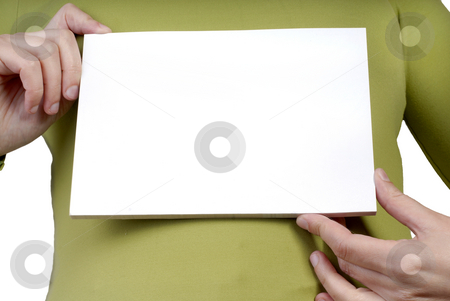 Empty card stock photo, Woman hands holding an empty card in the chest by Rui Vale de Sousa
