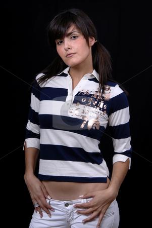 Beautiful stock photo, Beautiful young woman posing in black background by Rui Vale de Sousa
