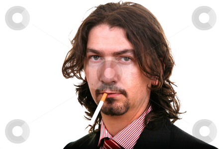 Addict stock photo, Young businessman & his cigarette isolated on white by Rui Vale de Sousa
