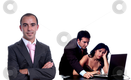 Office stock photo, Office, boss with a couple working, focus on the left man by Rui Vale de Sousa