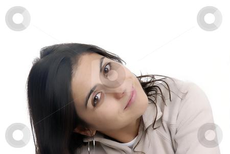Portrait stock photo, Young casual woman portrait in a white background by Rui Vale de Sousa