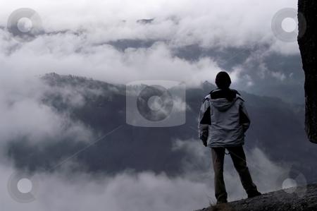 Fog stock photo, Man on the mountain fog by Rui Vale de Sousa