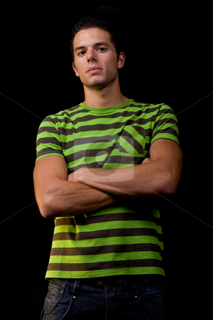 Young man stock photo, Young man portrait, on a black background by Rui Vale de Sousa