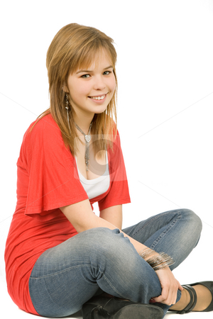 Woman stock photo, Young casual blonde woman close up portrait by Rui Vale de Sousa