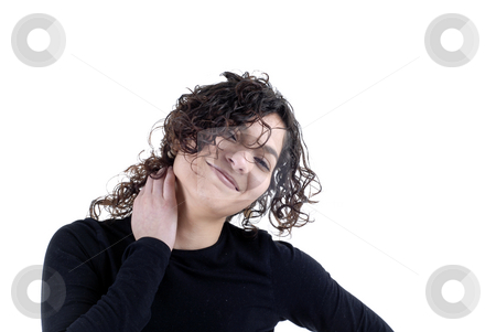 Happy stock photo, Happy young casual woman islolated on white by Rui Vale de Sousa