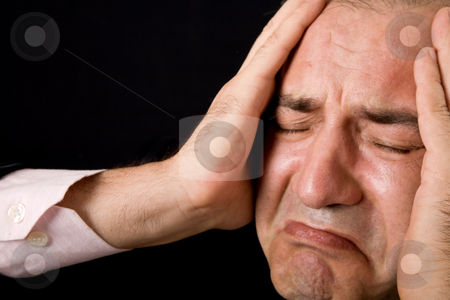 Crying stock photo, Sad mature business man on a black background by Rui Vale de Sousa