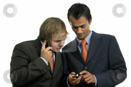 Phone stock photo, Two young business men on the phone by Rui Vale de Sousa