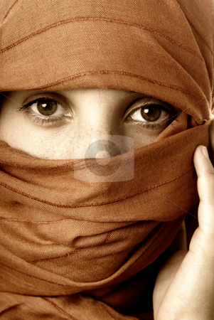 Veil stock photo, Young woman close up portrait, studio picture by Rui Vale de Sousa