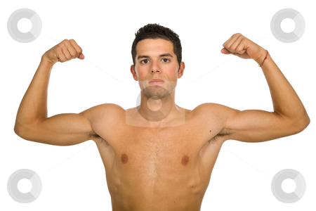 Strong stock photo, Young casual naked man isolated on white by Rui Vale de Sousa