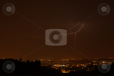 Lightning stock photo, Thunder at night over a city in portugal by Rui Vale de Sousa