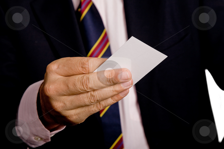 Business card stock photo, Hand of business man with business card by Rui Vale de Sousa