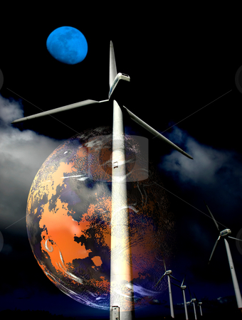 Planet stock photo, Illustration of a concept of the future, the need of wind turbines by Rui Vale de Sousa