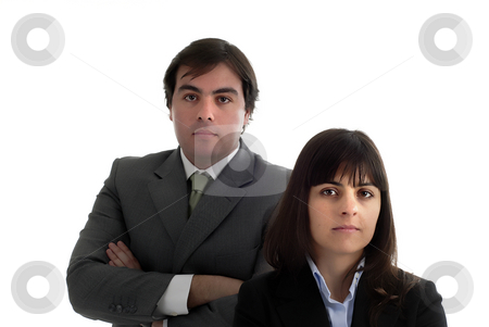 Couple stock photo, Young business couple portrait isolated on white by Rui Vale de Sousa