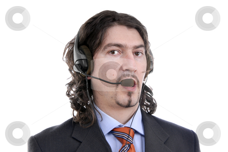 Phone stock photo, Young call center man talking by the phone by Rui Vale de Sousa