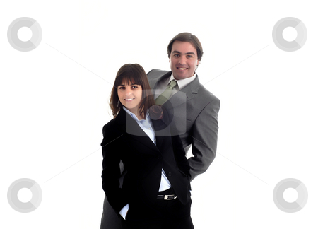 Couple stock photo, Young business couple isolated on white background by Rui Vale de Sousa