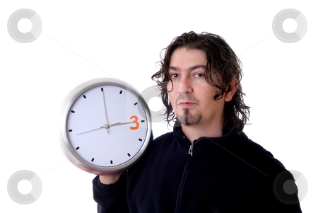 Clock stock photo, Man portrait with a clock isolated on white by Rui Vale de Sousa