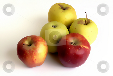 Apples stock photo, Red and yellow apples in white background by Rui Vale de Sousa
