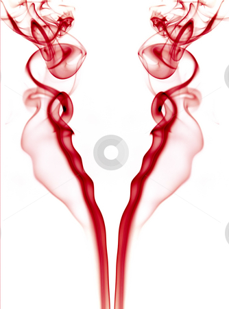 Smoke stock photo, Abstract red smoke in a white background by Rui Vale de Sousa