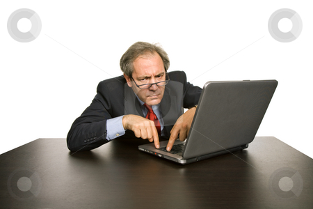 Worker stock photo, Mature business man working with his laptop by Rui Vale de Sousa