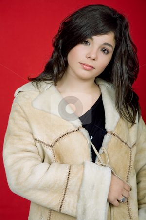 Youth stock photo, Young woman portrait isolated on red background by Rui Vale de Sousa