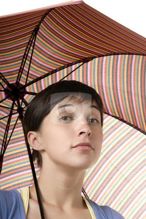 Colors stock photo, Young brunette girl with umbrella in colors by Rui Vale de Sousa