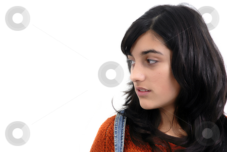 Girl stock photo, Beautiful young woman in a white background by Rui Vale de Sousa