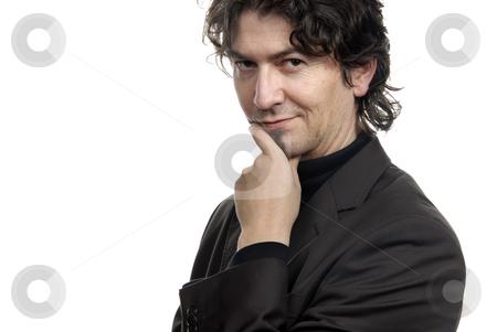 Portrait stock photo, Young man portrait standing on white background by Rui Vale de Sousa