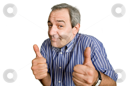 Silly stock photo, Mature man playing silly, isolated on white by Rui Vale de Sousa