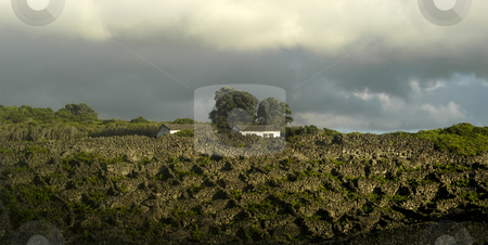 Azores houses stock photo, Azores houses of the rocky mountain by Rui Vale de Sousa