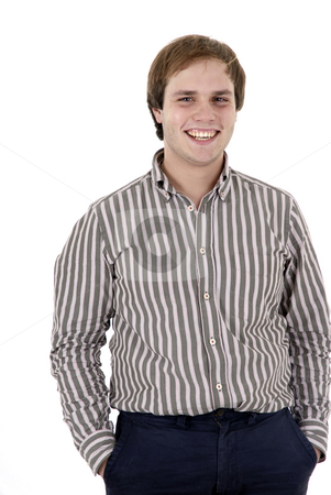 Happy stock photo, Happy young man portrait in a white background by Rui Vale de Sousa