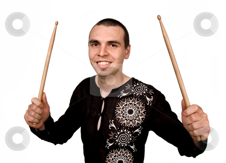 Drummer stock photo, Young drummer man portrait posing isolated on white by Rui Vale de Sousa