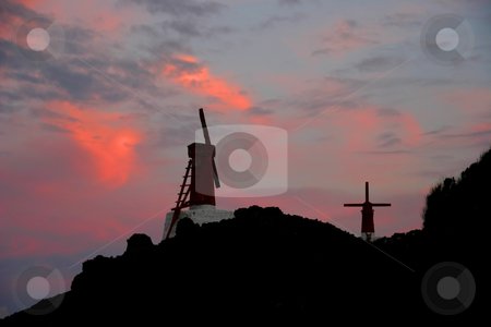 Windmills stock photo, Windmills of Azores at sunset by Rui Vale de Sousa
