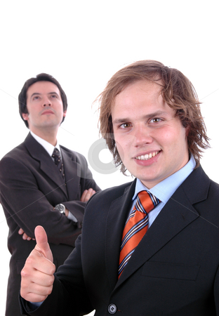 Thumbs stock photo, Two young business men portrait on white. focus on the right man by Rui Vale de Sousa