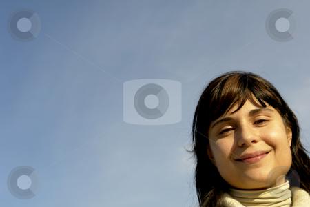Portrait stock photo, Young woman close up portrait enjoying the sun by Rui Vale de Sousa