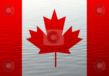 Flag stock photo, Canada flag in the water illustration, computer generated by Rui Vale de Sousa