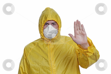 Mask stock photo, Young man in yellow with a mask, on white by Rui Vale de Sousa