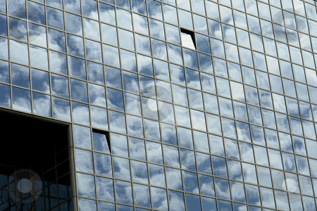 Modern stock photo, Modern office building and the clouds reflection by Rui Vale de Sousa