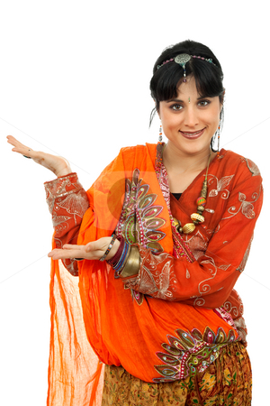Hindu dancer stock photo, Young happy woman in a hindu dress, isolated on white by Rui Vale de Sousa