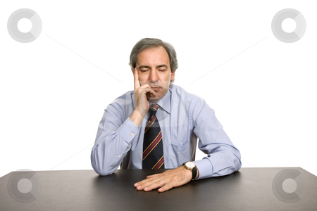 Bored stock photo, Bored business man on a desk, isolated on white by Rui Vale de Sousa