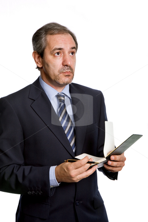 Pensive stock photo, Pensive mature business man, isolated on white by Rui Vale de Sousa