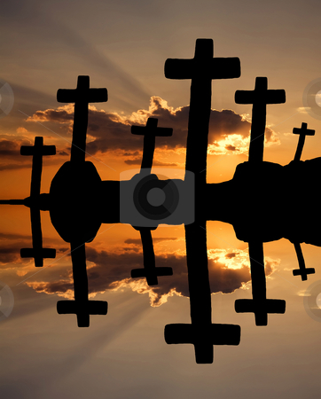 Religion stock photo, Cross at the sunset and the orange clouds by Rui Vale de Sousa