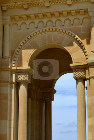 Entrance stock photo, Ancient church entrance of malta cathedral detail by Rui Vale de Sousa