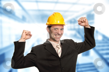 Victory stock photo, Successful young business man with open arms by Rui Vale de Sousa