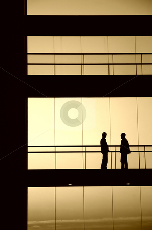 Meeting stock photo, People inside the building silhouette in sepia tone by Rui Vale de Sousa