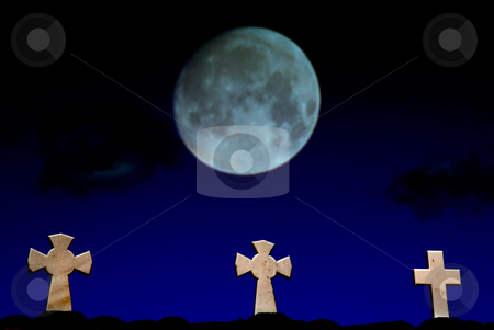 Cross stock photo, Some small crosses and the moon, focus on the crosses by Rui Vale de Sousa