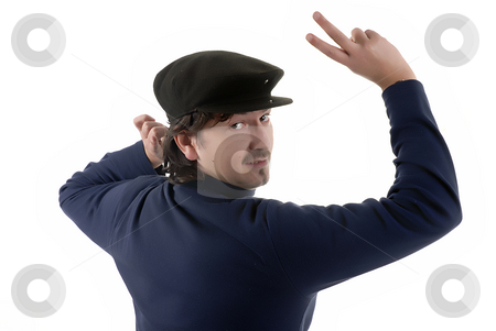 Silly stock photo, Portrait of a happy young man acting silly with a cap over white background by Rui Vale de Sousa