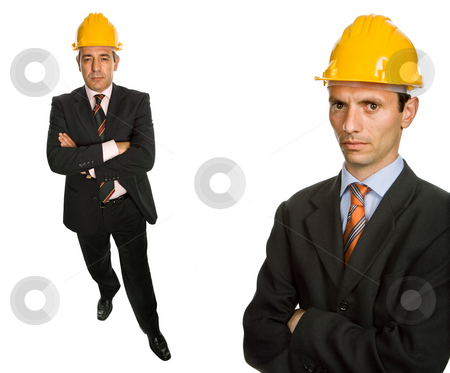 Engineers stock photo, Two workers isolated in a white background by Rui Vale de Sousa