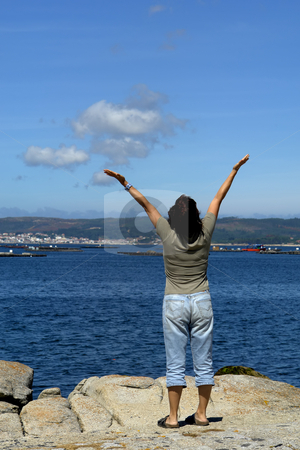 Happy stock photo, Happy woman with arms wide open at the coast by Rui Vale de Sousa